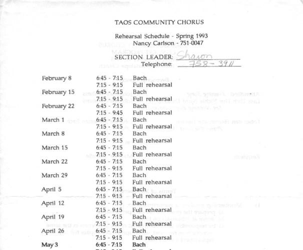 1993-spring-rehearsal-schedule